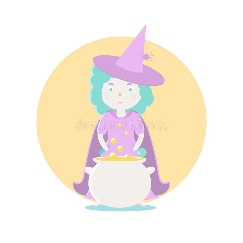A good witch is preparing a magical potion.. Vector illustration. Fairy-tale subjects and characters. Objects on a vector illustration
