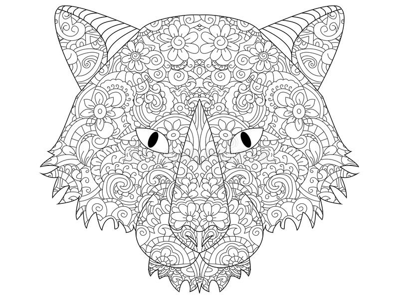 Download Good Wolf Head Coloring Vector For Adults Stock