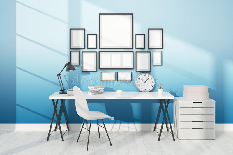Good work place with posters on wall royalty free illustration