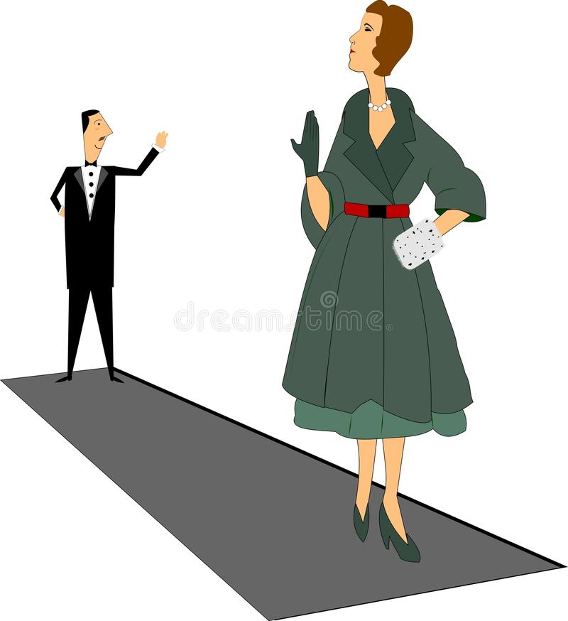 Goodbye. Gentleman in tux waving bye to dinner date in retro style stock illustration