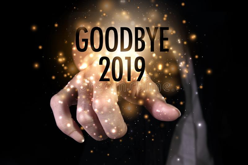 Goodbye 2019 with hand royalty free stock images