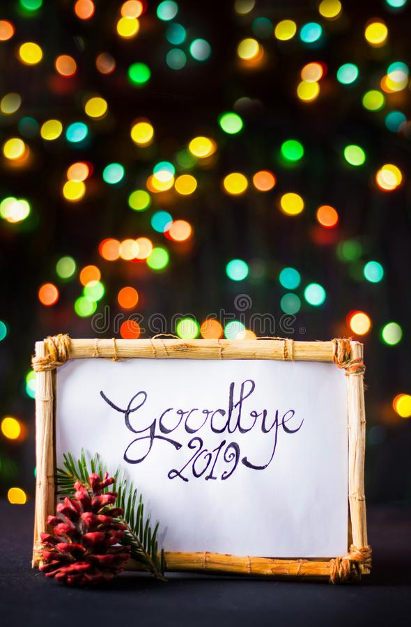 Goodbye 2019 New Year note with colorful background stock image