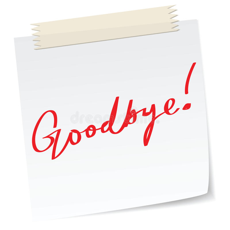 Goodbye Note Royalty Free Stock Image - Image: 21992536