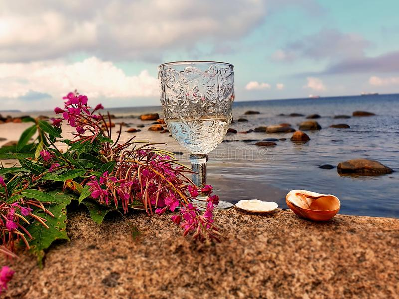 Goodbye Romantic Summer Hello Autumn  August Season Wild tree Autumn leaves and stone on  beach sand red Rowanberry  glass  fresh. Love Summer Hello Autumn royalty free stock images