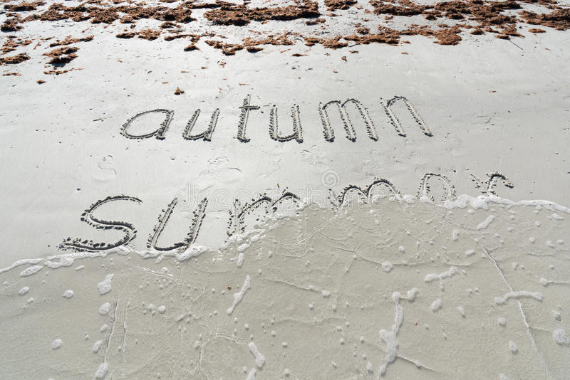 Goodbye Summer! Hello, Autumn!. Waves wash away the word ``summer`` on the sand of the beach. Goodbye Summer! Hello, Autumn stock images