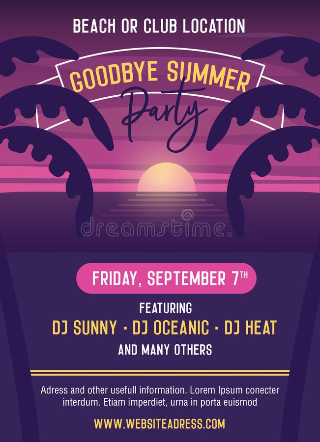 Goodbye summer Party vector template illustration design. Easily stock illustration