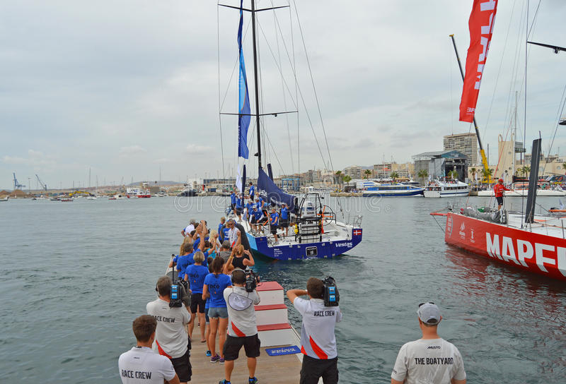 Team Vestas Wind. Family wave goodbye in Alicante as their loved ones head for cape Town stock images