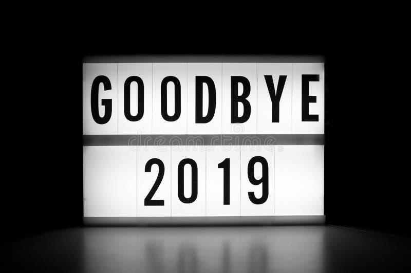 Goodbye 2019 - Text auf einem Leuchtbildschirm stockbilder