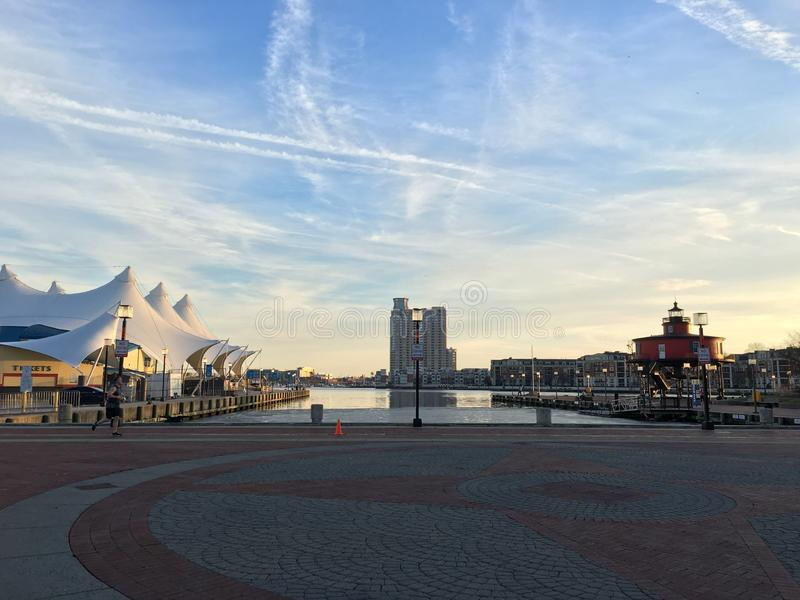 Baltimore Inner Harbor. Goodday in winter stock photography