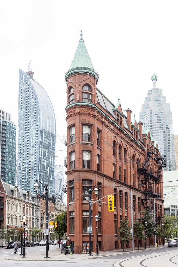 The Gooderham Building in Toronto, Canada. Toronto, Canada - Oct 13, 2017: Historic Gooderham Building also known as flatiron building in the city of Toronto stock images