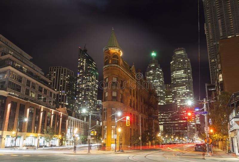The Gooderham Building in Toronto, Canada. Toronto, Canada - Oct 13, 2017: Historic Gooderham Building also known as flatiron building in the city of Toronto stock photo