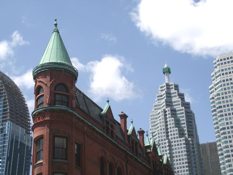 Gooderham Building in Toronto, Ontario, Canada. The red-brick Gooderham Building is a historic landmark located in Wellington Street East in the skyscrapers of royalty free stock photos
