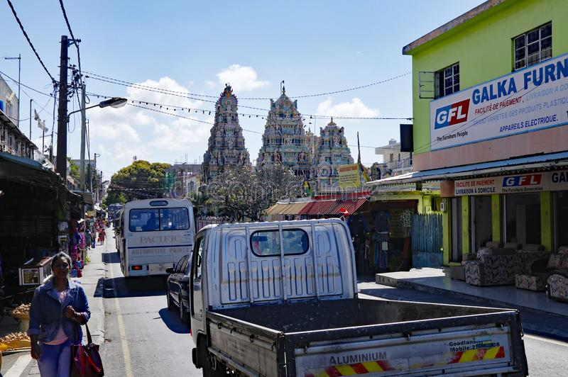 Streetlife of Goodlands - town  famous for its authenticity, Mauritius. GOODLANDS/MAURITIUS - AUGUST 15, 2018: The life of main street in Goodlands. Town is stock photos