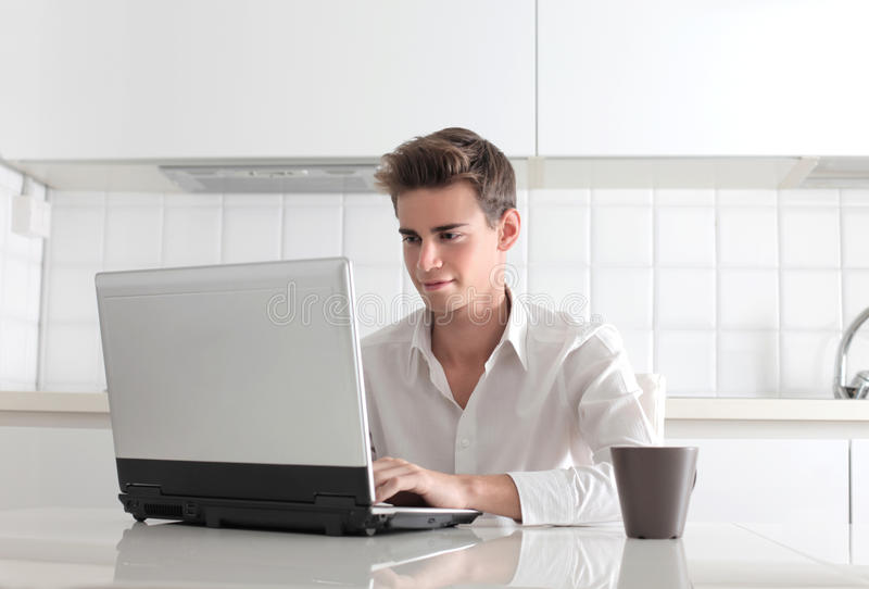 Download Goodmorning stock image. Image of person, write, computer - 27777127