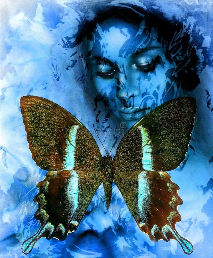 Goodnes妇女和颜色蝴蝶,混合画法,抽象颜色背景 向量例证