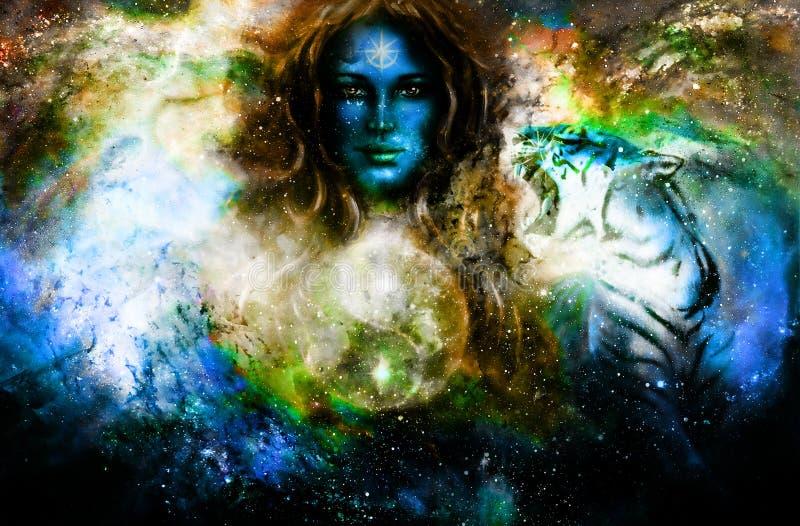 Goodnes-Frau und Tiere und Symbol Yin Yang Kosmischer Raumhintergrund stock abbildung