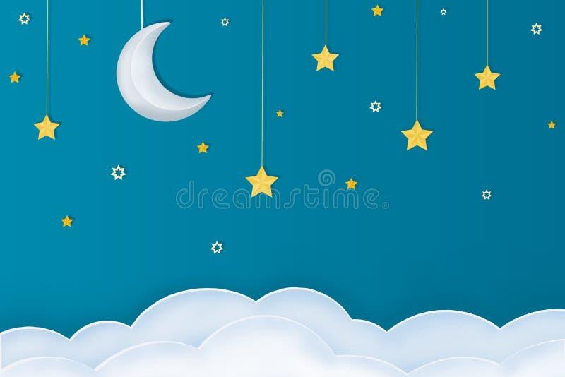 Goodnight artes de papel com estrelas e nuvens da lua em um fundo azul ilustração stock