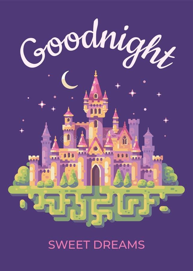 Goodnight kort med en illustration för sagaslottlägenhet stock illustrationer