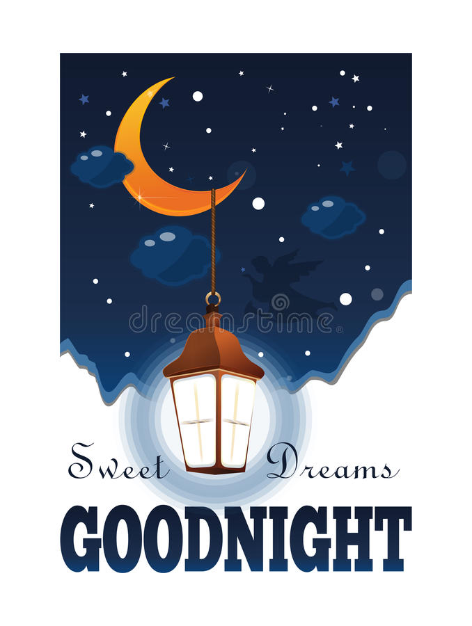 Free Goodnight Poster. Sweet Dreams Royalty Free Stock Image - 96226336