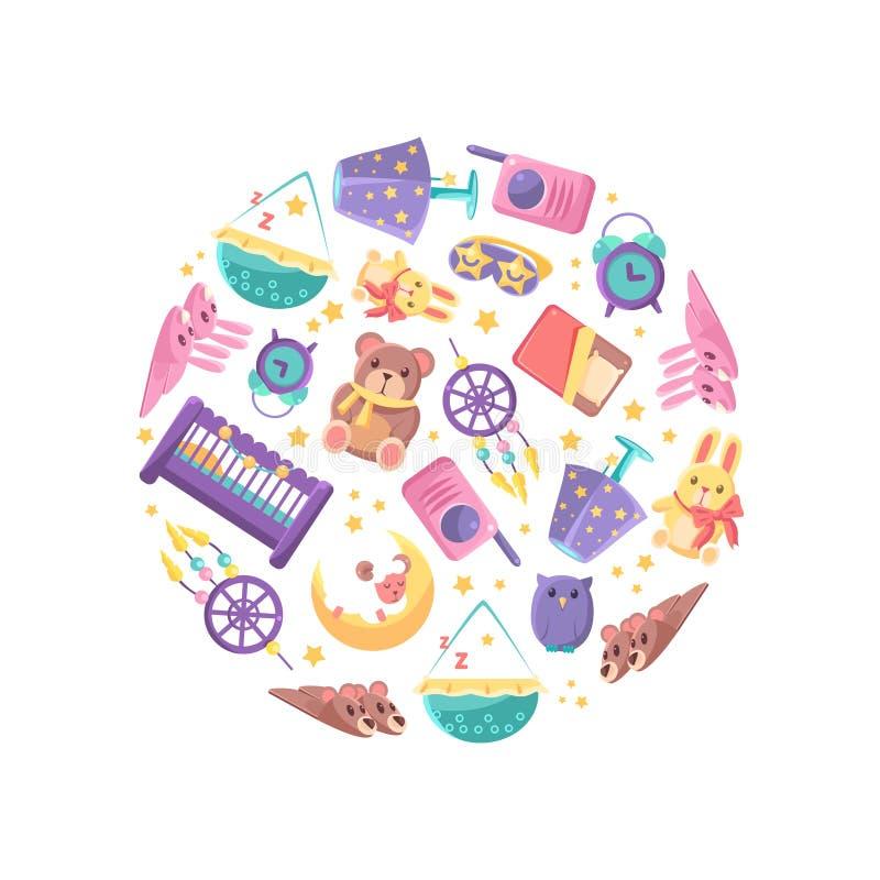 Goods for Babies in Circular Shape, Baby Shop Design Element Vector Illustration. On White Background stock illustration