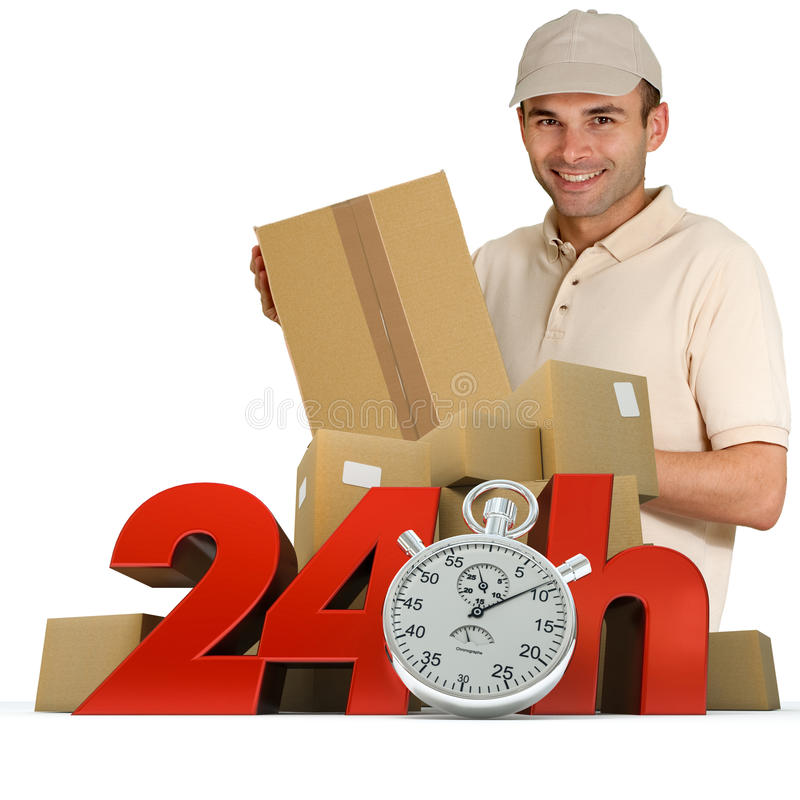 Goods delivery in 24 hrs. A messenger delivering a parcel with 24 hrs and a chronometer royalty free stock photos
