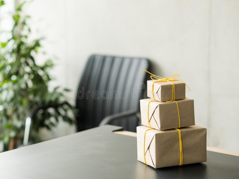 Goods delivery service beige gift boxes stack royalty free stock image