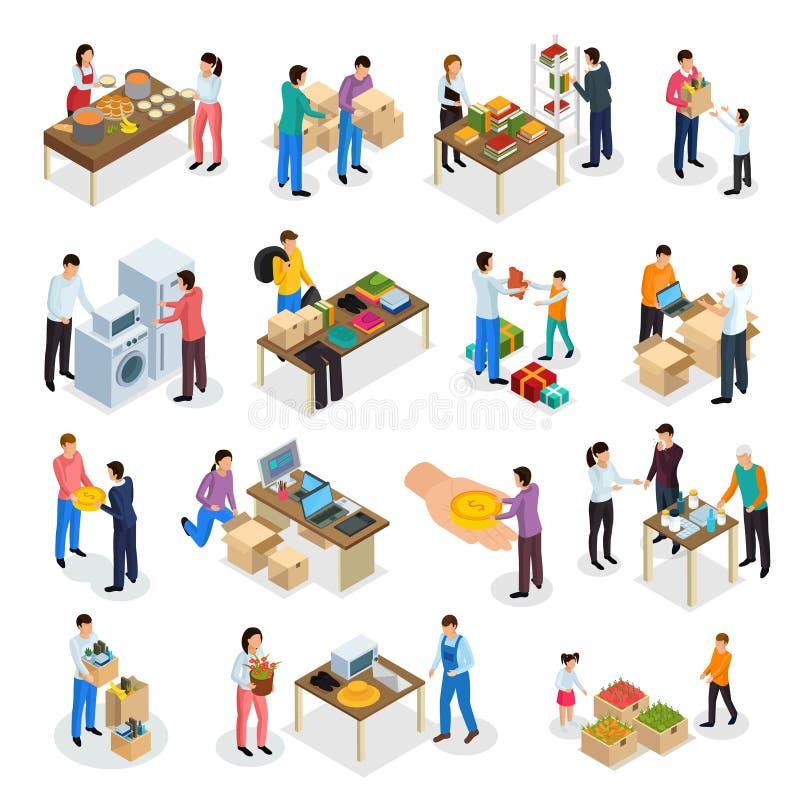 Goods Donation Isometric Set vector illustration