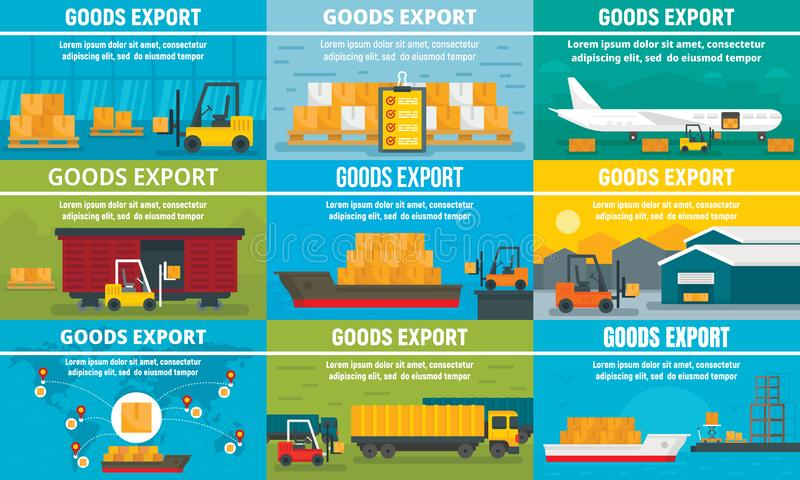 Goods export banner set, flat style. Goods export banner set. Flat illustration of goods export vector banner set for web design stock illustration
