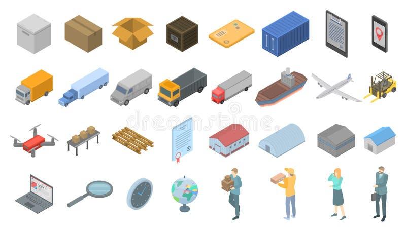 Goods export icons set, isometric style. Goods export icons set. Isometric set of goods export vector icons for web design isolated on white background stock illustration