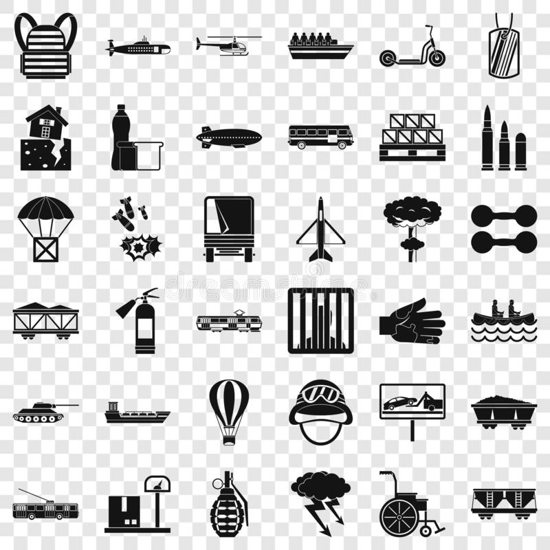 Goods icons set, simple style. Goods icons set. Simple style of 36 goods vector icons for web for any design stock illustration