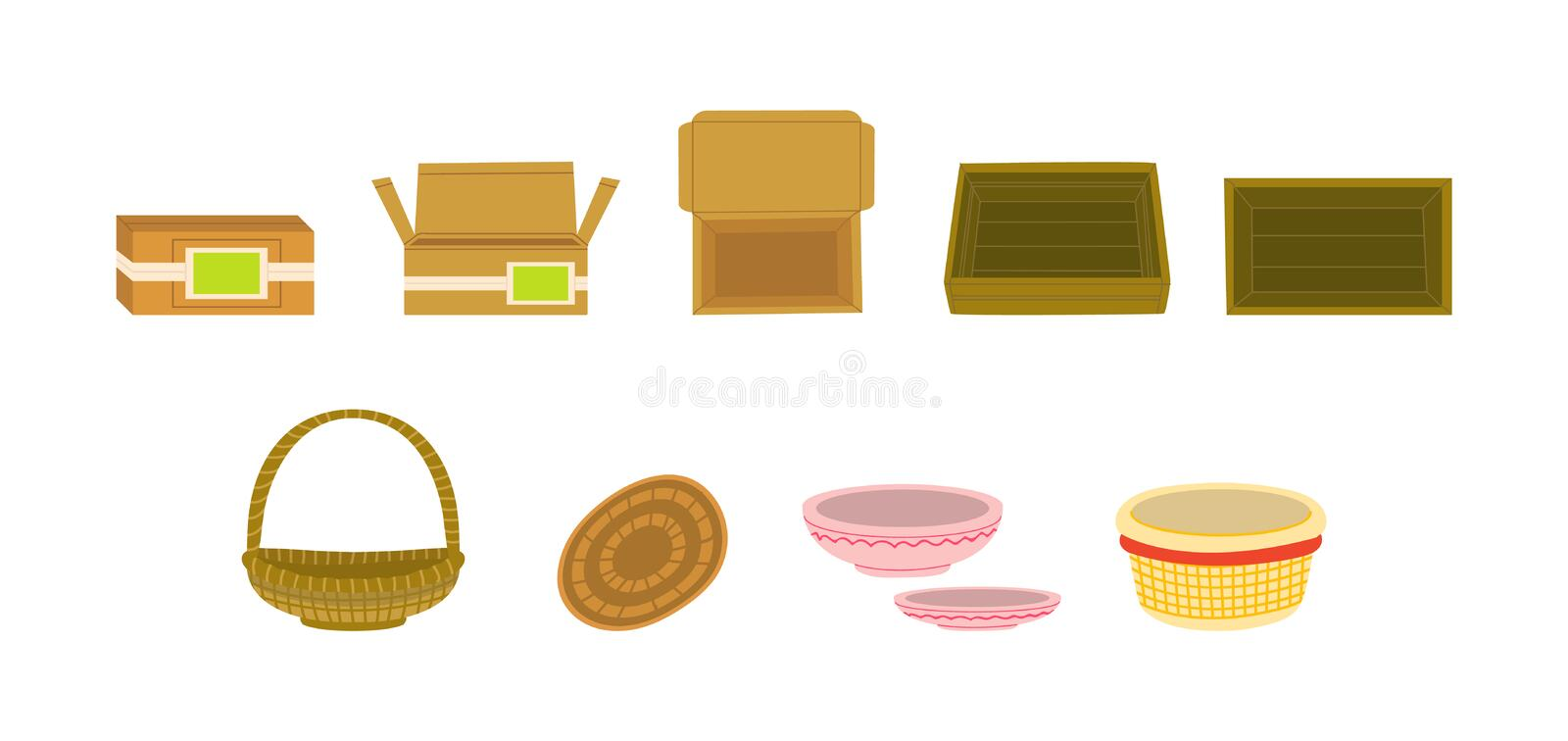 Goods packages flat vector illustration set. Wooden, cardboard vegetable boxes, trays. Fruits baskets, containers, crates for delivery, shipping. Storage stock illustration
