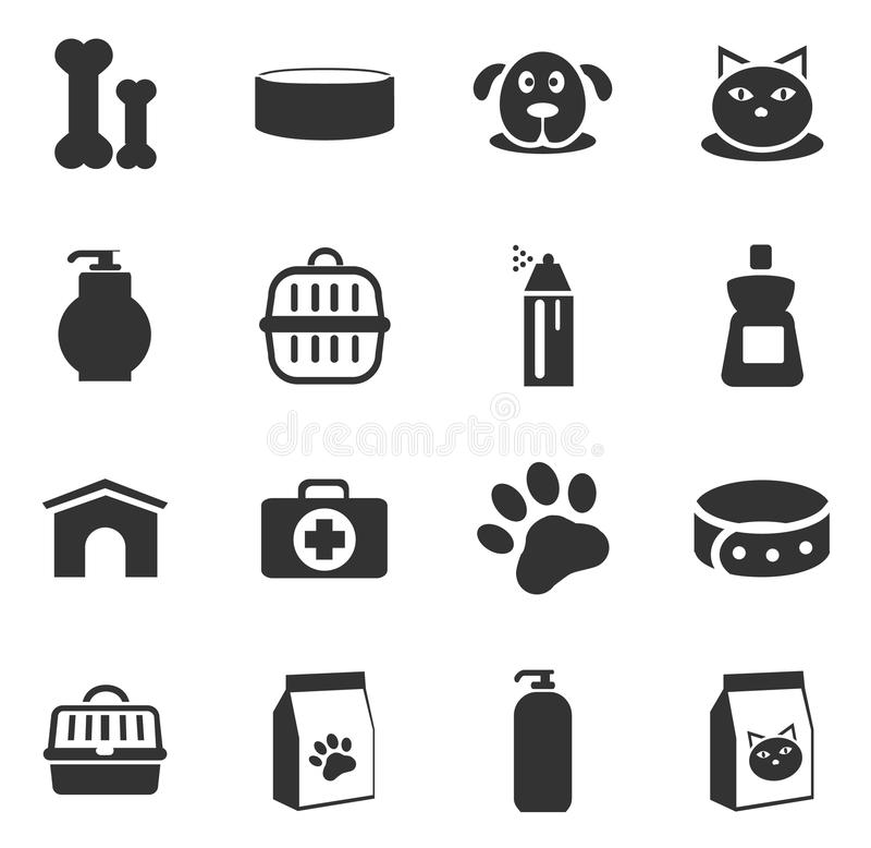 Goods for pets icons set. Goods for pets icon set for web sites and user interface stock illustration