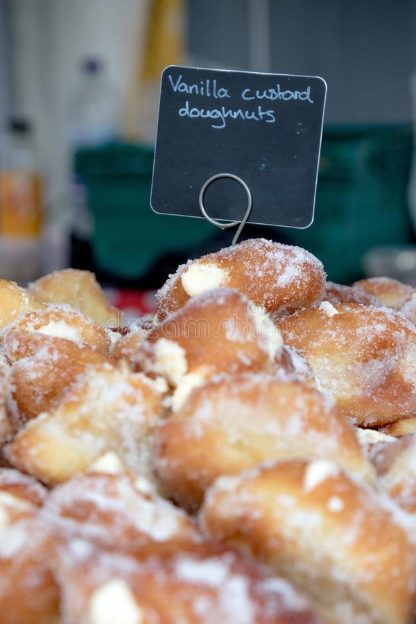 Goods for sale at Farnham Food Festival. Farnham, United Kingdom, 30th October 2017:-Donuts for sale at Farnham International Food Festival stock photography