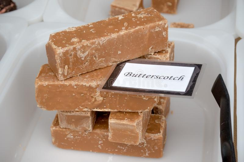 Goods for sale at Farnham Food Festival. Farnham, United Kingdom, 30th October 2017:-Fudge for sale on a stall at Farnham International Food Festival stock image