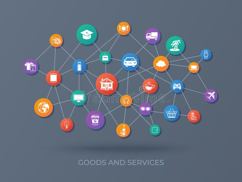 Goods and services. Icons set. Payment of goods, services, utility, restaurant. Shopping Marketing Delivery. Vector illustration stock illustration