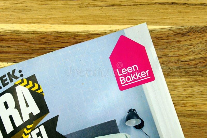 Goods store sale flyer of Dutch retail chain Leen Bakker,. Amsterdam, the Netherlands - December 16, 2018: Goods store sale flyer or advertising brochure, of stock images