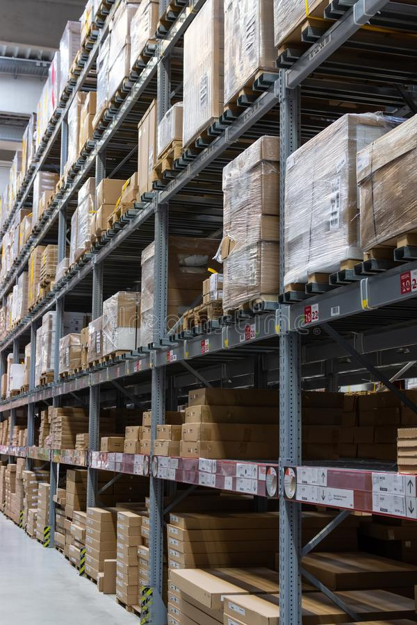 Goods in the warehouse of the store Ikea royalty free stock photo