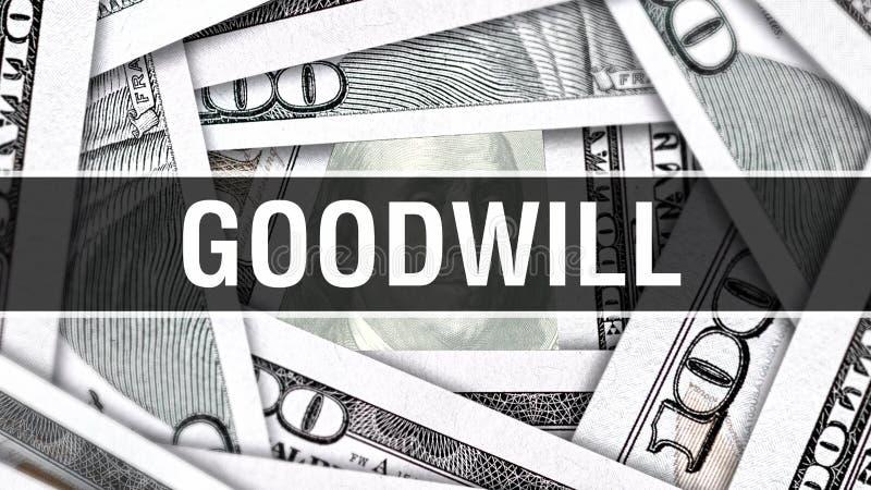 GoodwillCloseupbegrepp Amerikanska dollar kontanta pengar, tolkning 3D Goodwill på dollarsedeln Finansiell Comm för USA pengarsed stock illustrationer