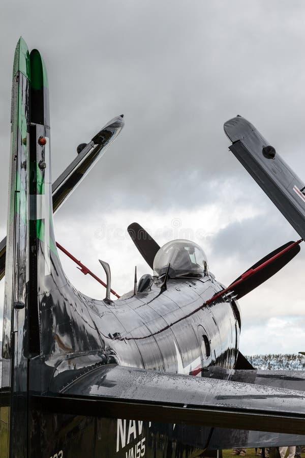 GOODWOOD, SUSSEX/UK DEL OESTE - 14 DE SEPTIEMBRE: Parque de Douglas Skyraider imagen de archivo libre de regalías