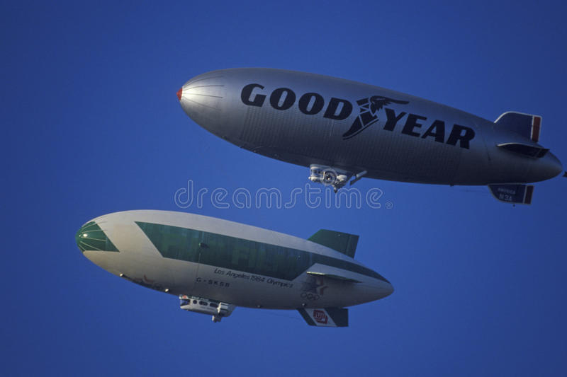 The Goodyear Blimp over Los Angeles stock photography
