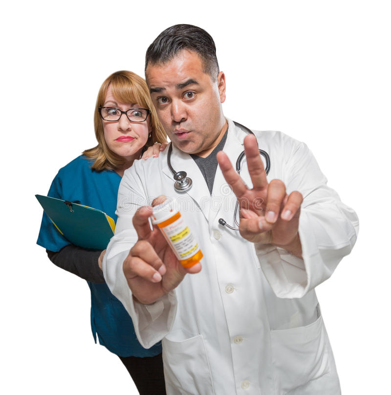 Goofy Doctor and Nurse with Prescription Bottle Isolated on a Wh. Ite Background stock images