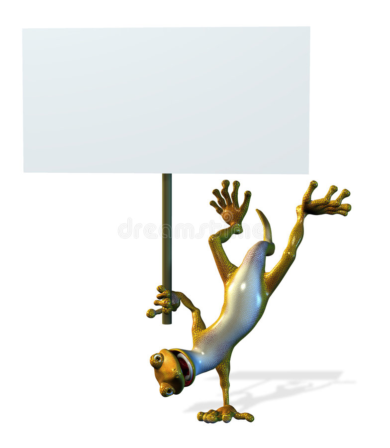 Free Goofy Gecko With Blank Sign - Includes Clipping Path Royalty Free Stock Photos - 236368