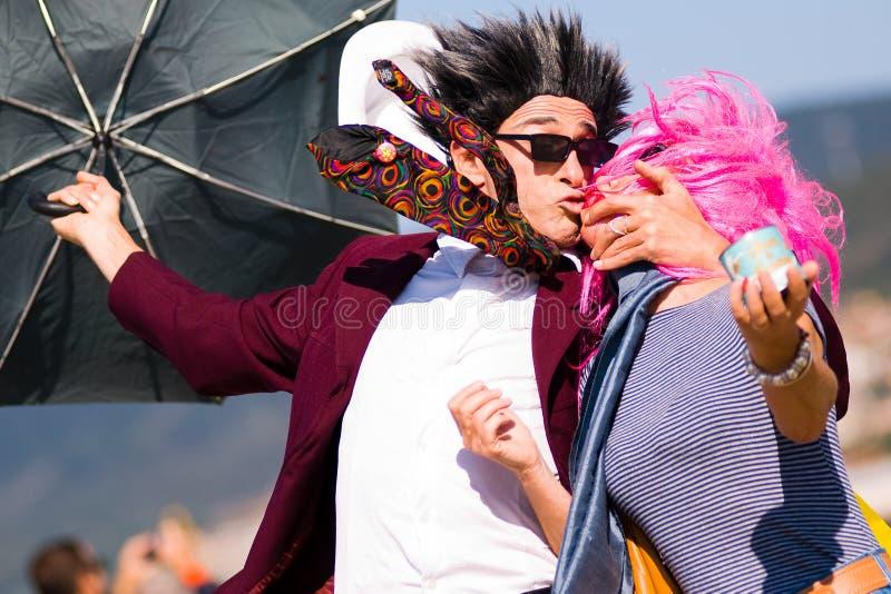 Goofy Kiss. With Masks at at Barcolana village - Barcolana sailboat race - Improvided funny kiss with strangers - (Italy) 2007
