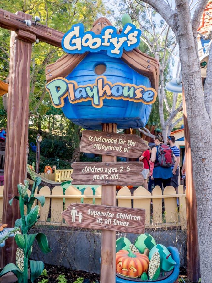 Goofys lekstuga i Toontown, Disneyland arkivbild