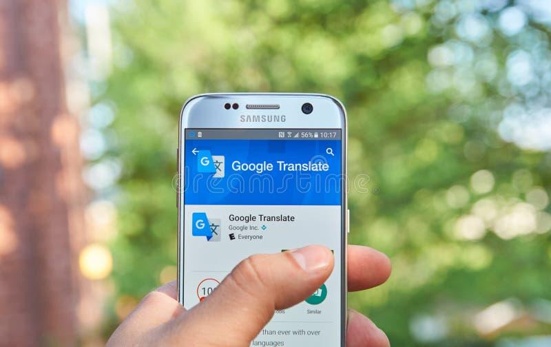 Google översätter app royaltyfri bild
