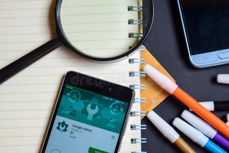 Google Admin App na tela de Smartphone imagem de stock