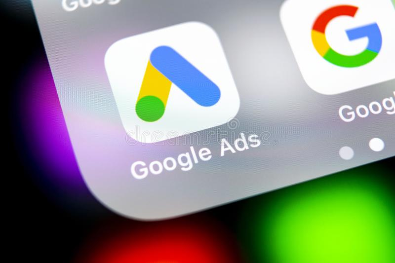 Google Ads AdWords application icon on Apple iPhone X screen close-up. Google Ad Words icon. Google ads Adwords application. Socia. Sankt-Petersburg, Russia royalty free stock image