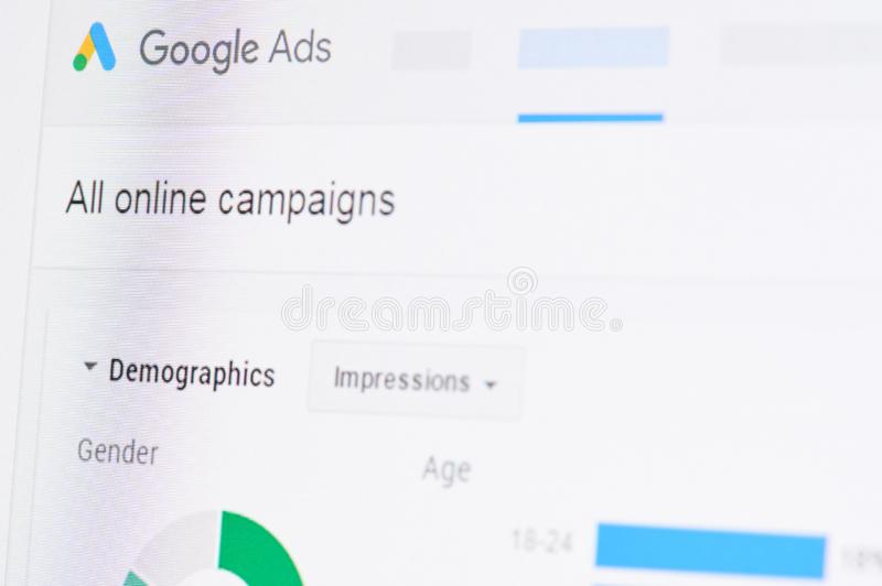 Google ads campaign. New york, USA - april 8, 2019: Google ads campaign on digital screen macro close up view stock image