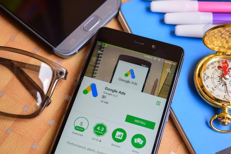 Google Ads dev application on Smartphone screen. BEKASI, WEST JAVA, INDONESIA. SEPTEMBER 1, 2018 : Google Ads dev application on Smartphone screen. Google Ads stock image