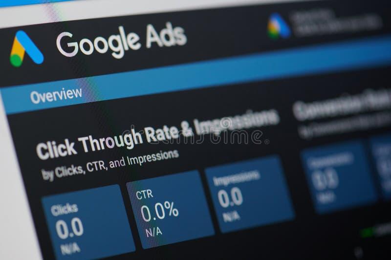 Google ads menu. New york, USA - january 24, 2019: Google ads menu on device screen pixelated close up view stock images